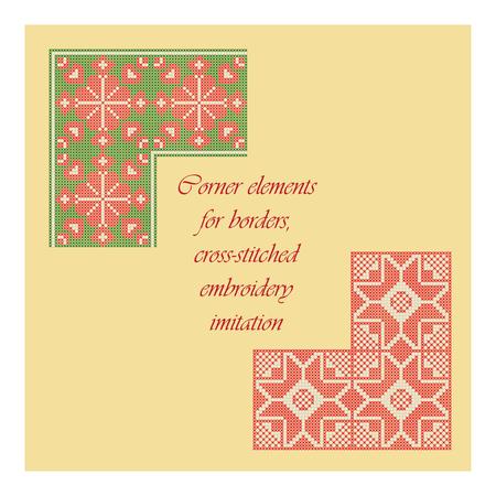 Hoek elementen voor de grenzen, cross-stitched embroidery imitatie. Stock Illustratie
