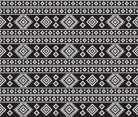 American Indians tribal texture, seamless black and white pattern. Çizim