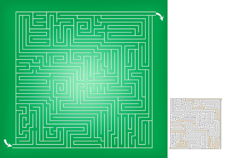 Square maze game sketch, advanced level. The solution is included. Illustration