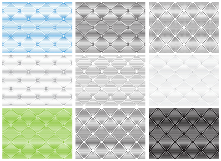 Set of seamless geometric patterns, opt art category. Swatches are included. Appropriate for textile, packing materials, website backgrounds. Stok Fotoğraf - 85171838