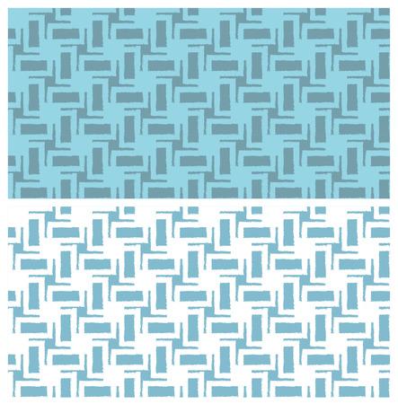 青いシームレス幾何学模様グランジ効果。スウォッチが含まれています。繊維、梱包材、ウェブサイトの背景に最適です。  イラスト・ベクター素材