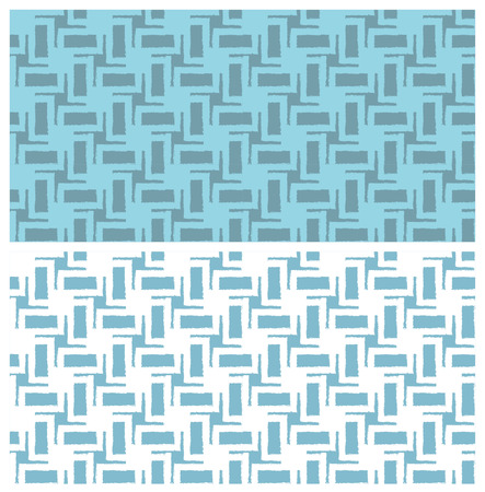 Blue seamless geometric patterns with grunge effect. Swatches are included. Appropriate for textile, packing materials, website backgrounds.