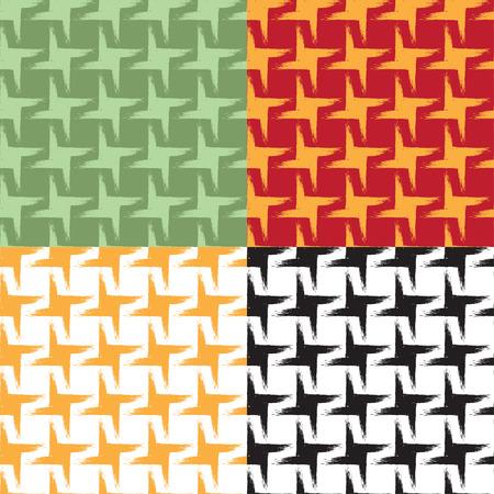 グランジ効果はシームレスな幾何学模様のセットです。スウォッチが含まれています。繊維、梱包材、ウェブサイトの背景に最適です。