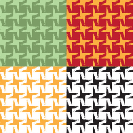 Set of seamless geometric patterns with grunge effect. Swatches are included. Appropriate for textile, packing materials, website backgrounds. Stok Fotoğraf - 85171854