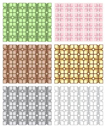 シームレスな幾何学的なパターンのセット、アート カテゴリを選ぶ。スウォッチが含まれています。繊維、梱包材、ウェブサイトの背景に最適です