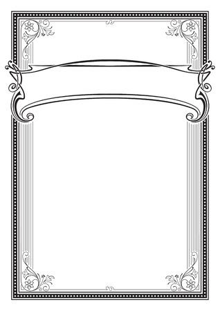 装飾的な黒い長方形フレームとバナー。免状、証明書、カード、ラベルのテンプレートです。レトロ、アール ヌーボー様式。A3 ページ サイズ。