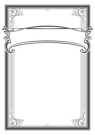 Decorative black rectangular frame and banner. Template for diploma, certificate, card, label. Retro, art-nouveau style. A3 page size. Illustration