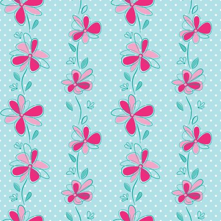 Seamless vertical pattern with abstract flowers on polka dot background. Swatch is included in vector file.