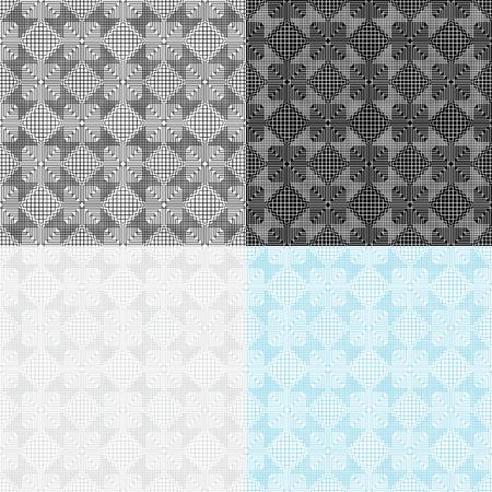4 つのシームレスな幾何学的なパターンのセットです。スウォッチが含まれています。繊維、梱包材、ウェブサイトの背景に最適です。