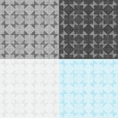 Set of 4 seamless geometric patterns. Swatches are included. Appropriate for textile, packing materials, website backgrounds. Ilustração