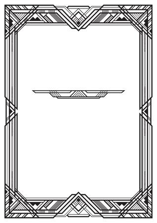 長方形の黒いフレーム、アールデコ様式。A3 ページの割合。