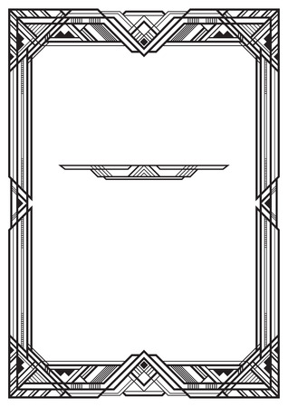 Rectangular black frame, art deco style. A3 page proportions. Иллюстрация