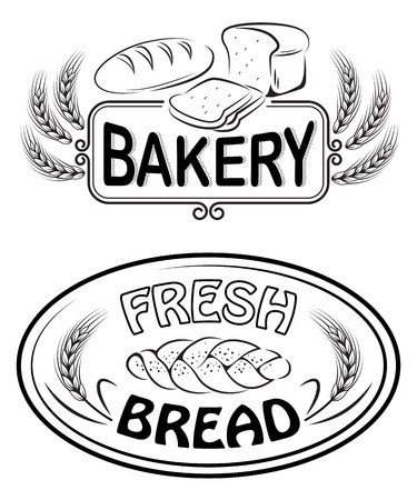 Labels and signs for bakery and bread shop.