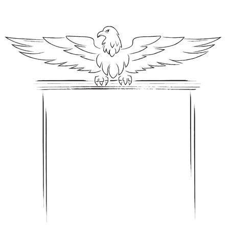 Sketch of sitting eagle and a banner for text. Black color. Ilustração