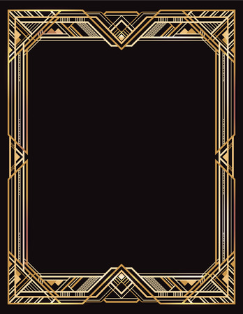 Rectangular golden and black retro frame, art deco style of 1920s.