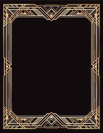 Rechthoekig gouden en zwart retro frame, art deco-stijl uit de jaren 1920.