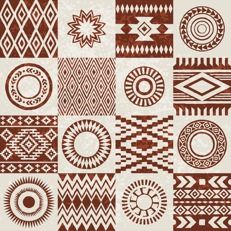 Pieces of American Indians ethnic patterns compiled in seamless texture. Grunge effect applied. Ilustração