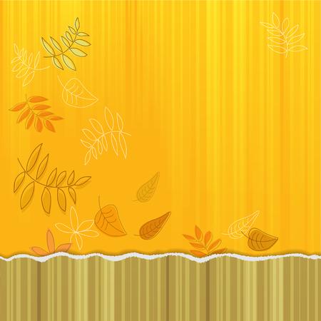 Decoratieve vierkante banner met herfstbladeren en effect van gescheurd papier rand.