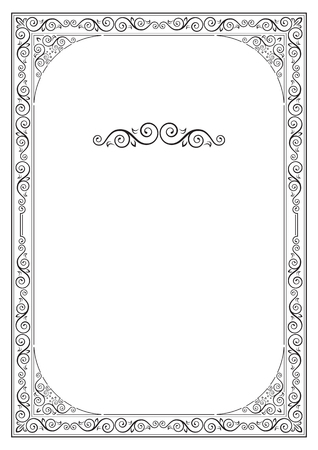 Black ornate framework for page decoration, diploma, card, label. A4 page proportions. Ilustracja