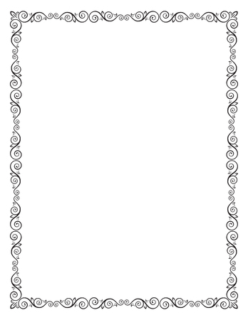 Decorative frame with swirls and leaves. Letter page format. Векторная Иллюстрация