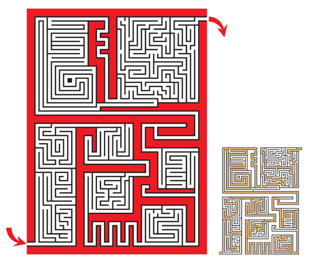 Intricate maze game sketch with a solution. Coloring page.