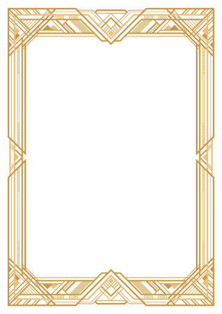 Rectangular golden retro frame, art deco style of 1920s. Transparent background. A3 page proportions.