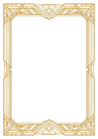 Prostokątna złota rama retro, styl art deco 1920 roku. Przezroczyste tło. Proporcje strony A3.