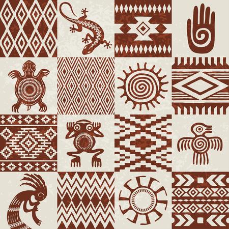 아메리칸 인디언 소수 민족 패턴 및 원활한 질감에서 컴파일 된 기호의 조각. 이동식 grunge 효과입니다.
