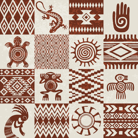 Pieces of American Indians ethnic patterns and symbols compiled in seamless texture. Removable grunge effect. Illusztráció