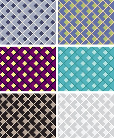 Seamless geometric patterns, various color combinations, opt art.