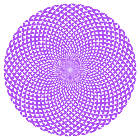 Round abstract pattern, optical art, vortex effect. Easy to replace colors.