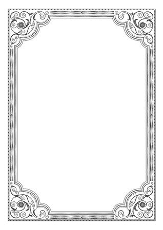 Ornate rectangular black framework, decorative corners. A3 page proportions.