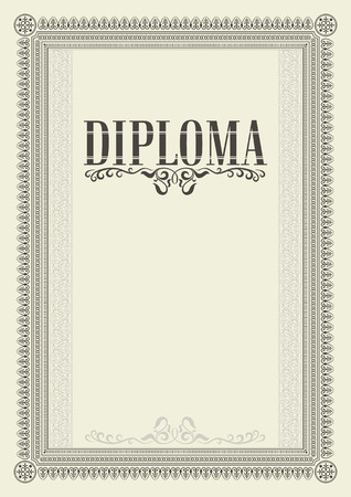Decorative rectangular framework. Template for diploma, certificate. Lettering Diploma. A4 page proportions.