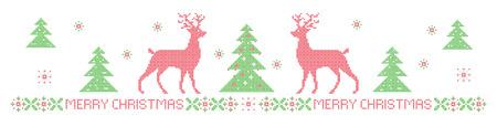 Banner di Natale, imitazione motivo a punto croce. Lettering Buon Natale. Gli elementi sono organizzati per gruppi. Archivio Fotografico - 90813313