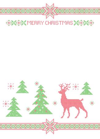Weihnachtsfahne, Kreuzstichmusternachahmung. Frohe Weihnachten Schriftzug. Elemente sind in Gruppen organisiert. Standard-Bild - 90813316