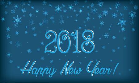 New Year card. Snowflakes, 2018. Transparency effects applied. Illusztráció