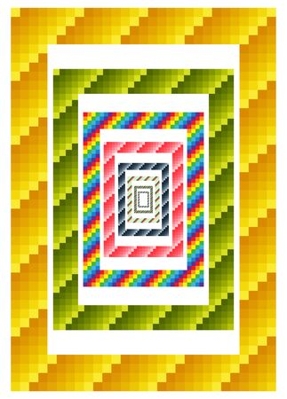 Colorful geometric borders, combinations of various tints, opt art.