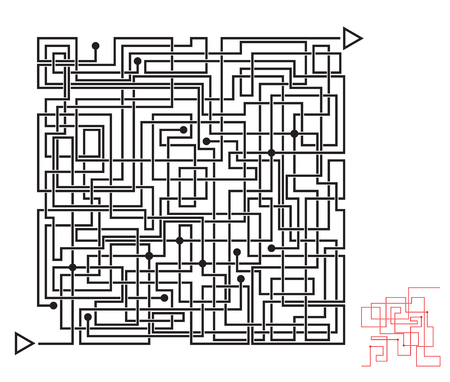 Intricate maze game, labyrinth with overlapping lines. Solution included.