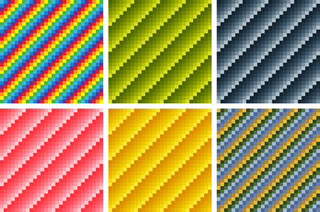 Seamless geometric patterns, combinations of various tints, opt art. Swatches are included.