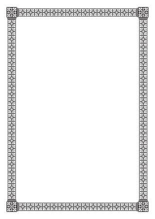 Ornate rectangular black border. A4 proportions. Book cover decoration, icon case. Illustration