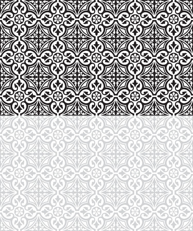 Seamless classic black and gray tiled patterns. Middle East style. Swatches included in vector file.