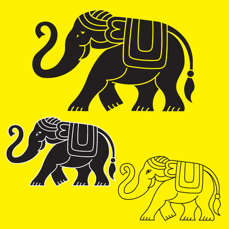 Ethnic illustrations of elephant: black fill, black with white outlines, black outlines only.