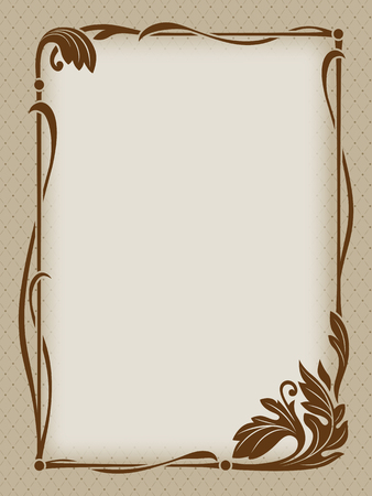 Ornate rectangular floral framework, backdrop with pattern. Beige and brown colors.