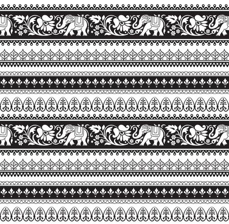 Modello bianco e nero senza soluzione di continuità con spazzole modello incluso. Illustrazione vettoriale