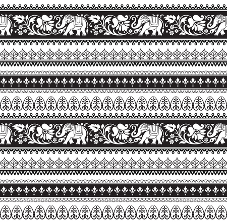 Seamless black and white pattern with included pattern brushes. Vector illustration.