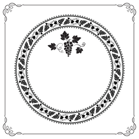 Round frame with grape elements, bunch of grape, ornate square frame. Pattern brushes included in vector file. Black color.