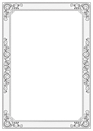 Ornate black framework for certificate, diploma, announcement, label and card.