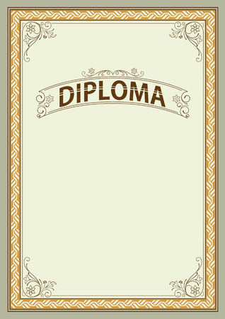 Ornate rectangular framework and banner template for certificate, diploma, announcement and label. Ilustracja