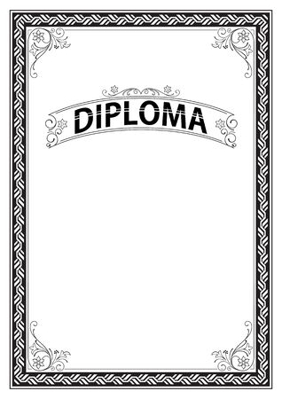 Ornate rectangular black and white framework and banner template for certificate diploma, announcement and label.