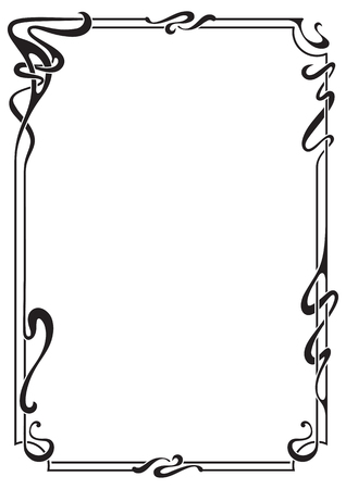 Abstract black framework in art-nouveau style, bound lines. Иллюстрация